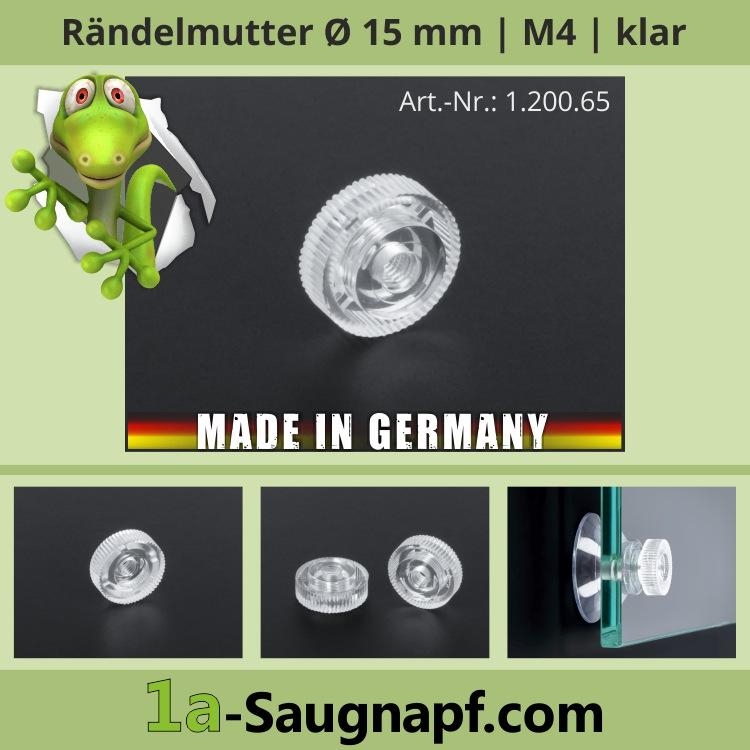 Rändelmutter Ø15 mm M4 Gewinde klar transparent Schraube für Saugnäpfe