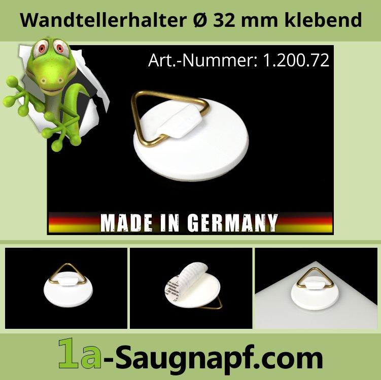 Wandtellerhalter Ø 32 mm selbstklebend | Messing-Öse | 0,4 kg