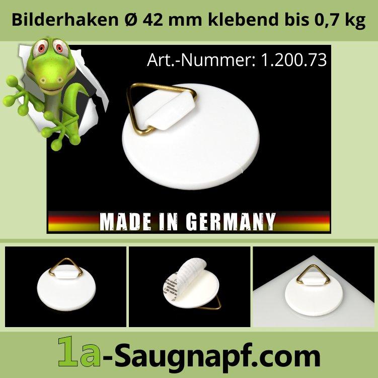 Bilder-Haken | Bild-Aufhänger Ø 42 mm klebend bis 0,7 kg | Kunststoff
