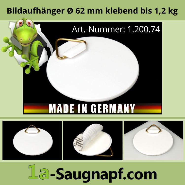Bilder-Aufhänger Ø 62 mm klebend | Kunststoff | Dibond | bis 1,2 kg