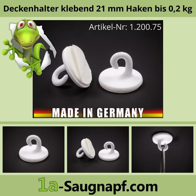 Lieferumfang: Deckenhalter selbstklebend 21 mm | Haken | Handtuchhalter | bis 0,2 kg