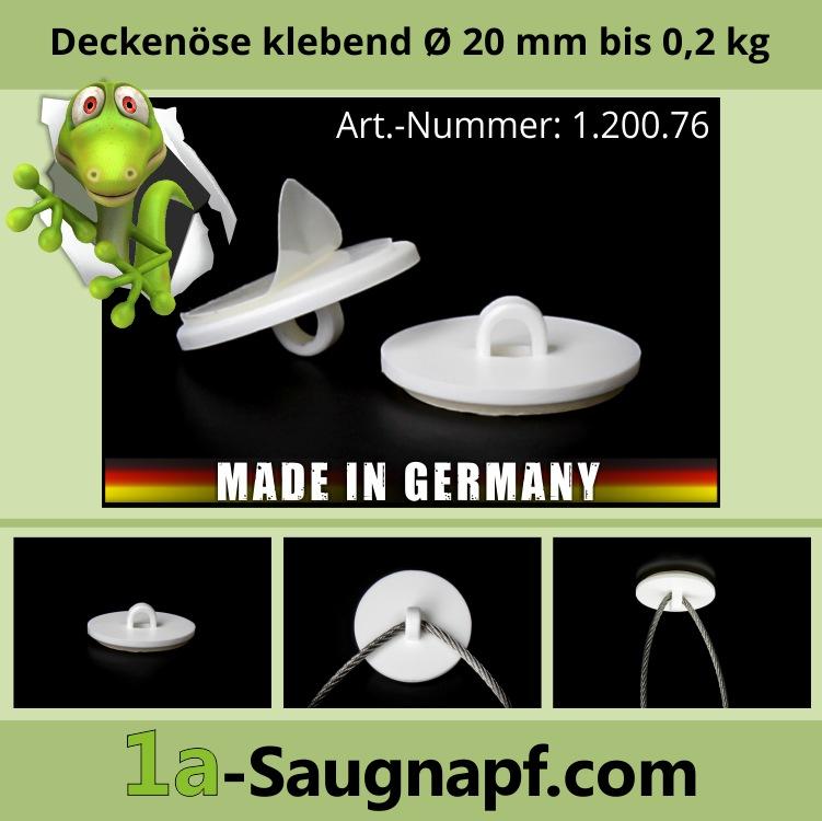 Lieferumfang: Deckenöse klebend 20 mm | Kunststoff | Öse | Aufhängung | bis 0,2 kg
