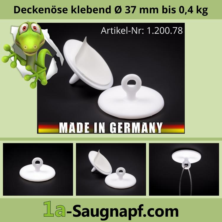 Lieferumfang: Deckenöse selbstklebend 37 mm | Plastik | Öse | Aufhängung bis 0,4 kg