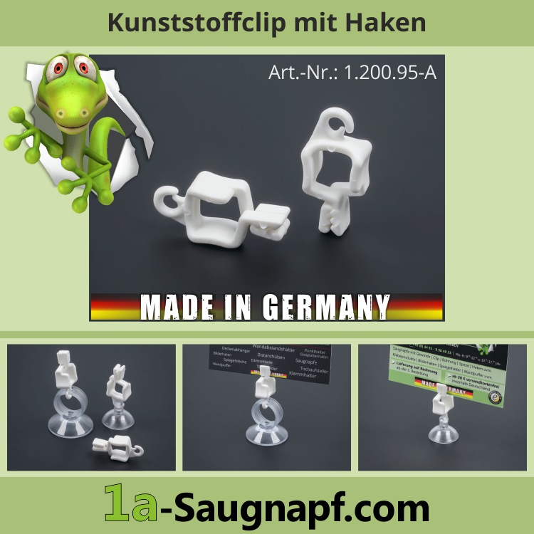 Kunststoff-Clip für Saugnäpfe | Handtücher | Zettel | Deko | Saugnapf