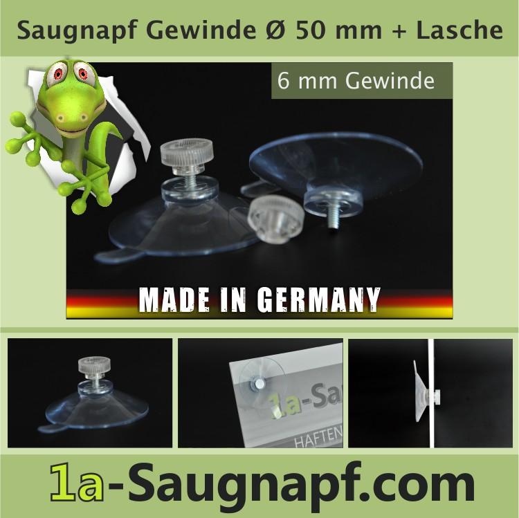 Saugnäpfe mit Gewinde 50 mm mit Lasche + Mutter M4 klar