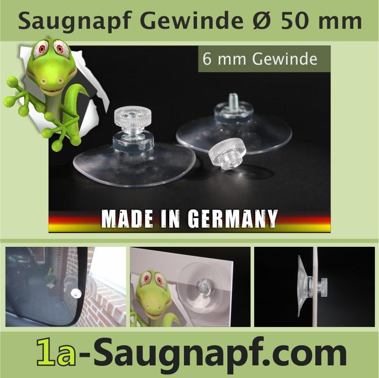 Saugnäpfe mit Gewinde 50 mm | Rändelmutter transparent
