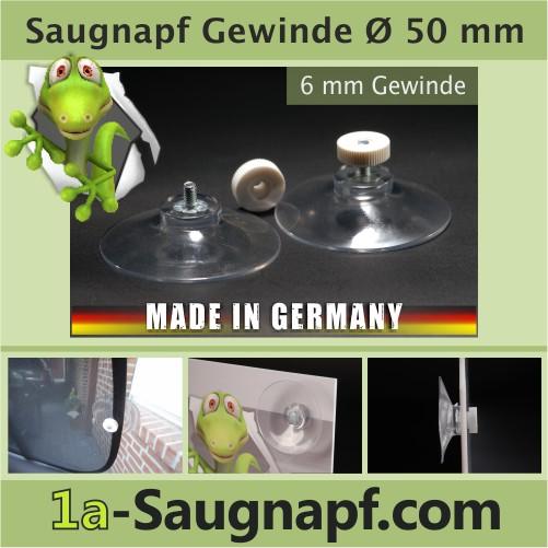 Saugnäpfe mit Gewinde 50 mm   Rändelmutter weiss