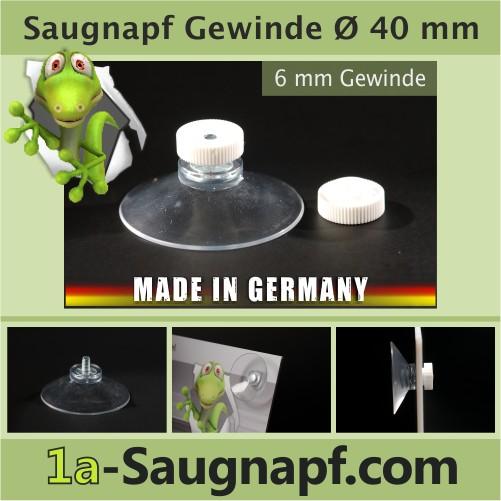 Saugnapf mit Gewinde 40 mm + Rändelmutter weiß