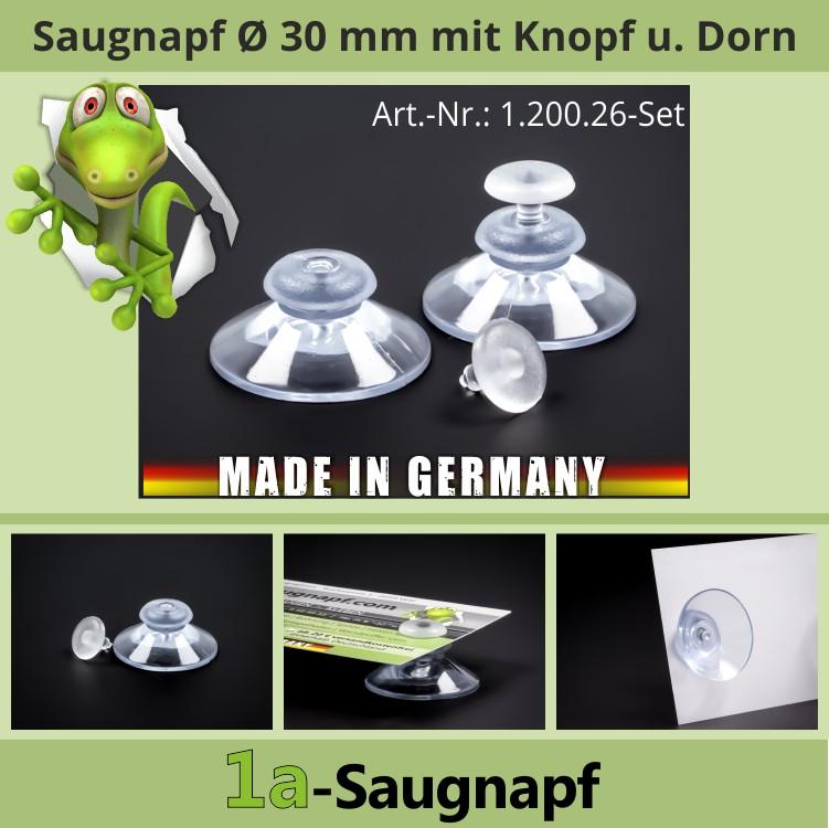 5 Saugnäpfe//Saugnapf 30mm mit Plexi-Dorn//Haftsauger