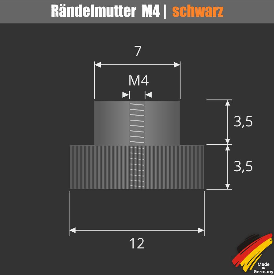Kleine Rändelmutter Ø12 mm Gewinde M4 Schraube für Saugnäpfe | schwarz