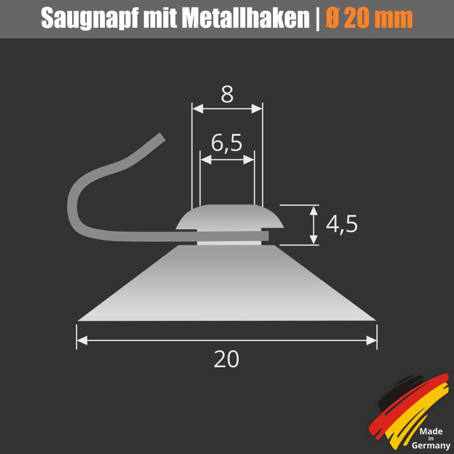 Saugnapf 20 mm mit Haken aus Metall | Saughaken | Saugnäpfe | Hakensauger