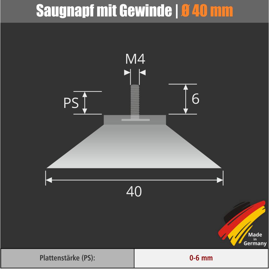 Saugnäpfe 40 mm mit Gewinde M4 x 6 mm + Rändelmutter weiß | Saugnapf