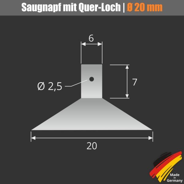 Saugnäpfe 20 mm mit Quer-Loch Ø 2,5 mm Lichterketten Kabel Saugnapf