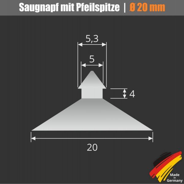 Saugnapf 20 mm mit Pfeilspitze für Glasplatten | Saugnäpfe | Befestigung